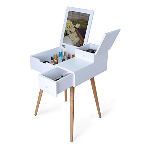 Facilehome Dressing Vanity Table Makeup Desk with Dressing Mirror and 2 Drawers,White by Facilehome