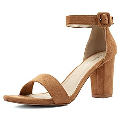 Allegra K Women's Chunky High Heel Ankle Strap Sandals (Size US 4.5) Camel