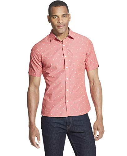 Van Heusen Men's Slim Fit Never Tuck Short Sleeve Button Down Shirt, Cranberry, Large (Best Shirts To Wear Untucked)