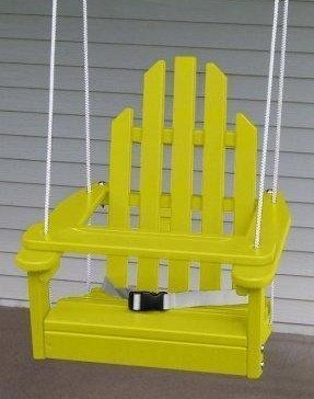 Children's Adirondack Swing - Rope & Seat Belt Included - Weather Resistant Aspen Wood -16 Inches square x 20 inches High - Made in USA –Buttercup Yellow by Kids Outdoor Porch Swing