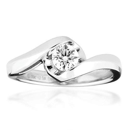 (Sirena 1/2 ct. tw. Round Brilliant Diamond Engagement Ring in 10k White Gold - JSA2192WR5JN)