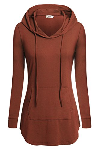 BEPEI Women Tunics, Plus Size Formal Wear for Leggings Hoody Sweatshirts Orange M