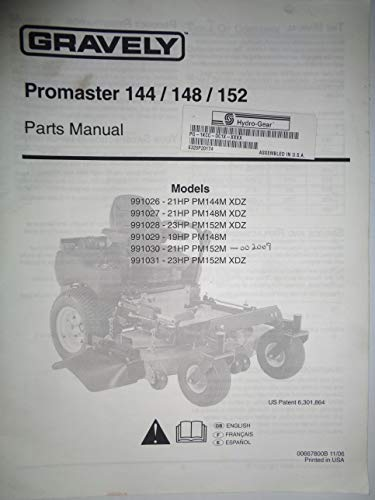Gravely Promaster 144 148 152 Zero Turn Mower Parts Catalog Manual 00667800B 11/06
