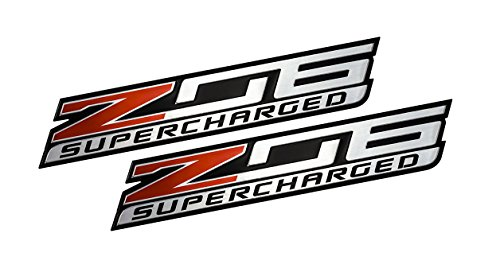 2x (pair/set) Z06 SUPERCHARGED Highly Polished Aluminum EMBLEM for Chevy Chevrolet CORVETTE C6 C7 in Red Black Silver (Z06 Emblem)