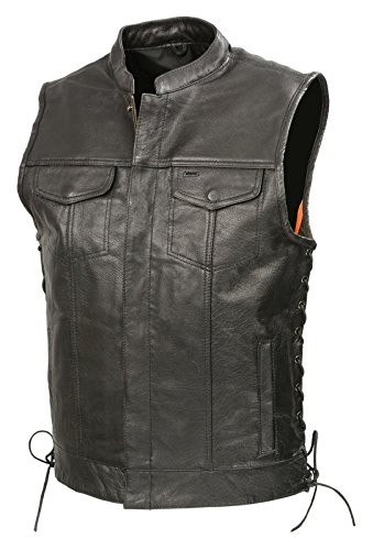 Mens SOA Leathe Club Style Vest W/Concealed Gun Pockets, Side Lace, Premium Buffalo Leather Biker Vest, Patches Friendly (Black, 2X)