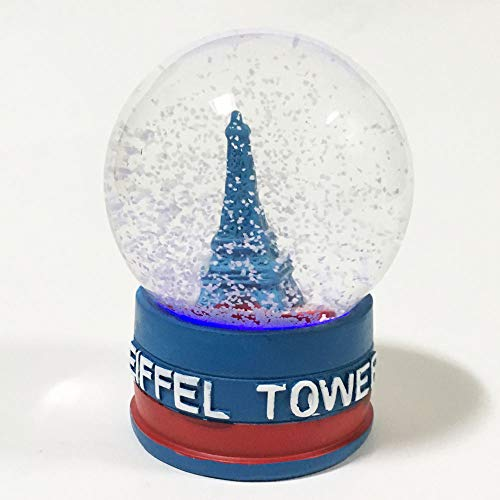 (Eiffel Tower Decor Snow Globe 4.5 inches tall 75mm Water Globe France Souvenir Figurines with Lighted LED Light Up Dolls Miniature Replica Paris France Landmark Famous Building with Flag Water Ball)