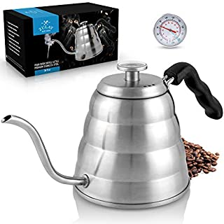 Zulay Premium Pour Over Coffee Kettle, 34 fl oz | 1 Liter - Top-Grade Stainless Steel Gooseneck Kettle with Built-In Thermometer for Drip Coffee and Tea - Triple Layered Bottom Pour Over Water Kettle