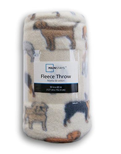 Tan Dogs Patterned Fleece Throw Blanket - 50in X 60in
