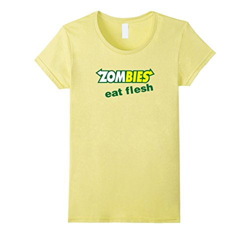 Women's Funny Zombies Eat Flesh Scary Food Halloween Costume T Shirt Small (Heathers Movie Costume)