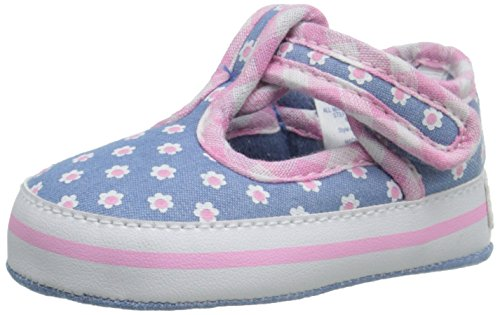 Gerber Girls' Chambray/Flower mj/Sneaker-K White, 2 M US Infant