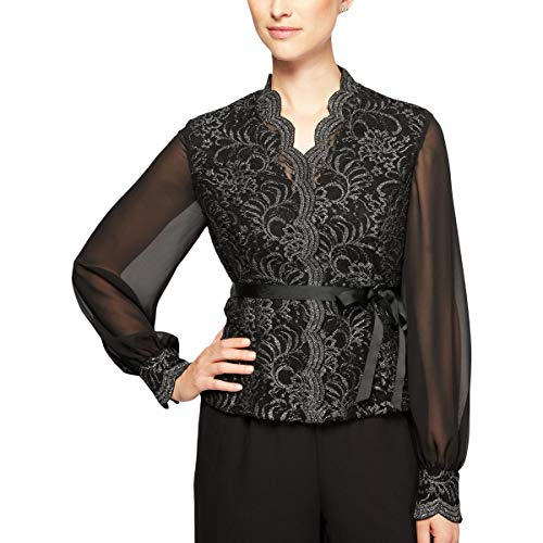 (Alex Evenings Womens Belted Lace Dress Top Black XL)