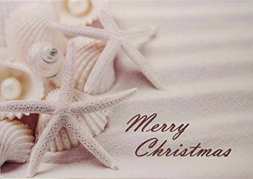 14 Christmas Cards and Envelopes, Starfish and Shells in the Sand, Merry Christmas