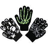 N'Ice Caps Boys Magic Stretch Gloves 3 Pair Pack Assortment (Neon Green Skeleton/Black Skulls/Black Camo, 3-5 Years)