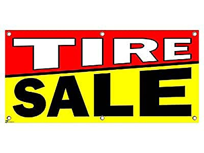 """Graphics and More Tire Sale - Sign Banner - 46"""" (width) X 22"""" (height)"""
