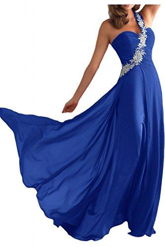 Toskana novia de un hombro Mujer Noche de gasa Vestidos Largo novia Vestidos de Fiesta en Ball azul real