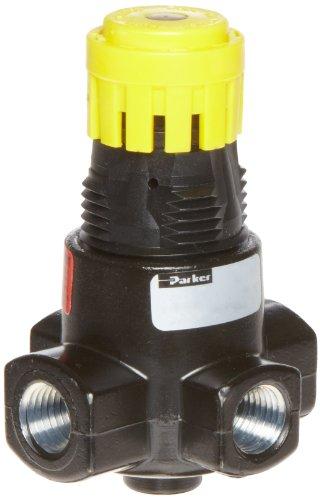 Parker 15R113FB Regulator, Relieving Type, 2-125 psi Pressure Range, No Gauge, 21 scfm, 1/4'' NPT by Parker
