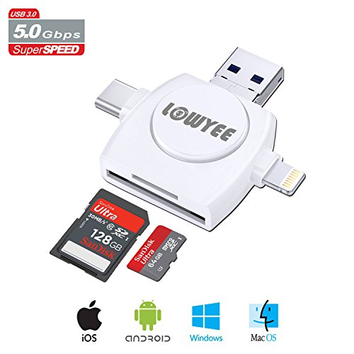SD / Micro SD Card Reader, LOWYEE TF & SD Memory Card Camera Reader Adapter for iPhone/iPad/Galaxy S8/Macbook Pro, All-in-1 Trail Game Camera Viewer With Lightning/Micro USB/USB Type C Adapter by LOWYEE