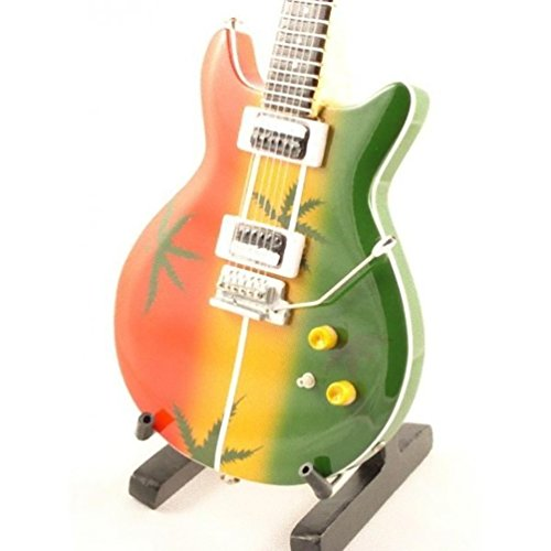 Bob Marley Miniature Guitar - Gibson Les Paul - Tribute Ganja - Wood Replica 10 Inches