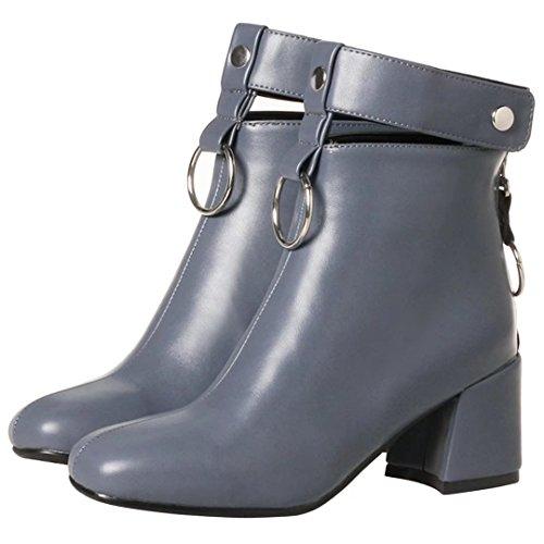 Schuhe Damen mit Zip Mid AIYOUMEI Block Stiefeletten Punk Heel Ferse Schnalle vRWfPW