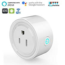 RtTech Smart Plug Wi-Fi Outlet Socket Wireless Works with Amazon Alexa & Google Home, No Hub Required, Remote Control Switch On/Off Your Devices from Smartphone or Tablet Anywhere, Timing Function (1)