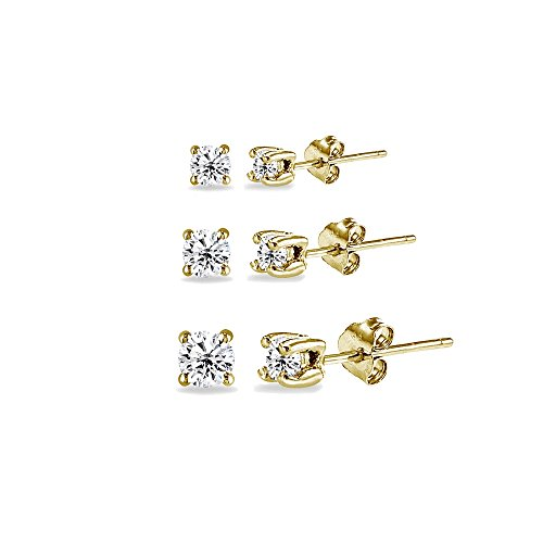 - 3 Pair Set Yellow Gold Flashed Sterling Silver Cubic Zirconia Round Stud Earrings, 2mm 3mm 4mm