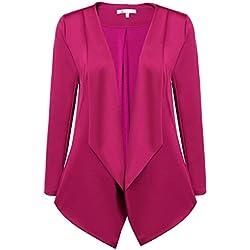 Flyerstoy Womens Casual Long Sleeve Work Office Asymmetrical Hem Blazer Jacket