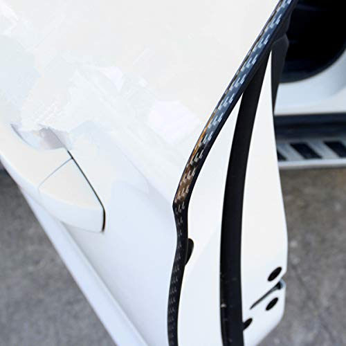 COOL·CAR 16FT(5M) Car Door Edge Guards Clear U Shape Trim Molding Electroplated Glossy Rubber Seal Protector with Fits Most Cars, No Glue Needed(Black Carbon ()