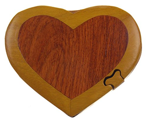 Wooden Heart Box - Hickoryville Handmade Carved Heart Intarsia Wood Puzzle Box Bundled With Instructions