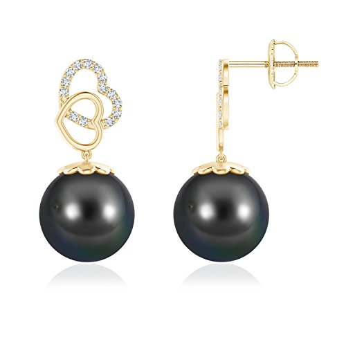 - Intertwined Heart Tahitian Cultured Pearl Drop Earrings in 14K Yellow Gold (11mm Tahitian Cultured Pearl)