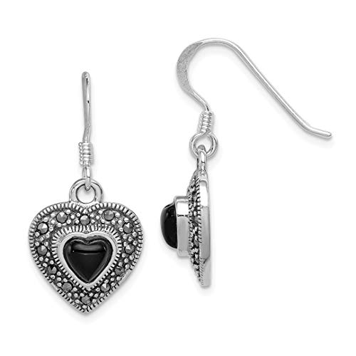 And Pin Pearl Marcasite (925 Sterling Silver Black Onyx Heart Marcasite Drop Dangle Chandelier Earrings Love Fine Jewelry For Women Gift Set)
