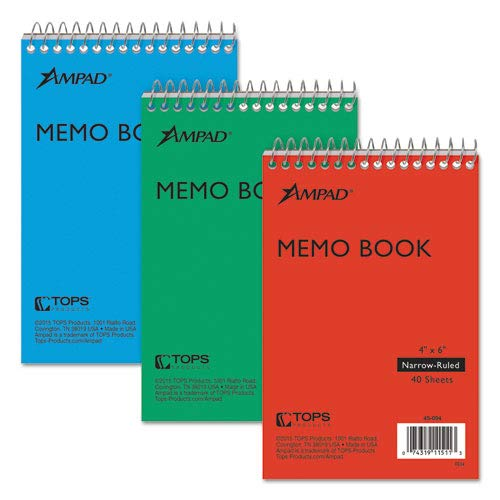 Wirebound Pocket Memo Book, Narrow, 6 x 4, White, 40 Sheets, - Sheets Memo Ampad