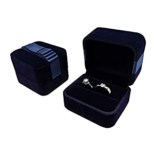 Bearda Velvet Double Ring Box – Navy Couple Bearer Ring Organizer Jewelry Earring Pins Gift Favor Case with Elegant Silk…