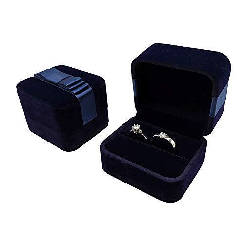 Bearda Velvet Double Ring Box - Navy Couple Bearer Ring Organizer Jewelry Earring Pins Gift Favor Case with Elegant Silk Box for Wedding, Engagement, Christmas (Ring Box) ()