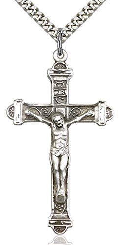 (Heartland Store Men's Crucifix Pendant Silver Accents Cross Bar Edges + 24 Inch 2.2mm Sterling Silver Chain & Clasp)