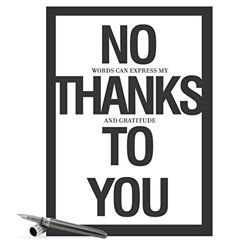 J8680 Jumbo Funny Thank You Card: 'No Thanks To You' With Matching Envelope (Extra Large Version: 8.5'' x - Epic Thank Card You