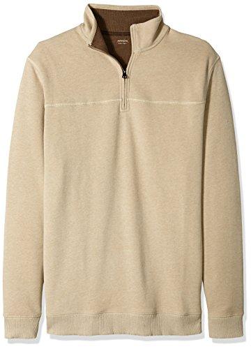 Arrow 1851 Men's Big and Tall Saranac Long Sleeve 1/4 Zip Sueded Fleece Pullover, Legacy Oatmeal Heather, Large (1/4 Zip Sweatshirt Sueded)