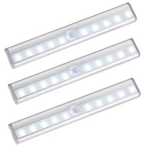 Naouis Motion Sensor Light,10 LED Motion Sensor Night Light Wireless Magnetic Battery Operated Motion Sensor Closet Lights for Closet Stairs Bathroom Steps Indoors, 3Pack