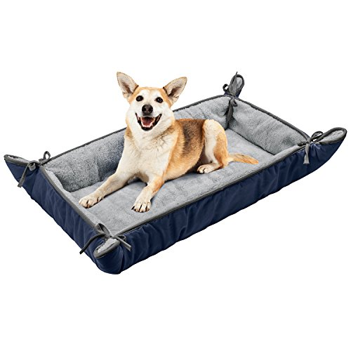 - Dog Cuddler Bed,Washable Crate Pad Mat Blanket,Soft Plush Thick Pet Sofa Kennel Cushion Liner for Small Medium Large Dogs Puppy Cats Blue