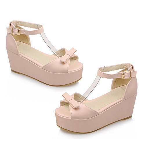 Sandales Compensé Femmes Plate Forme Rose TAOFFEN xTaI0qFwnw