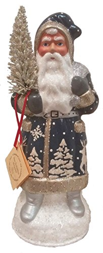 Pinnacle Peak Trading Company Ino Schaller Electric Blue Forest Scene Santa German Paper Mache Candy -