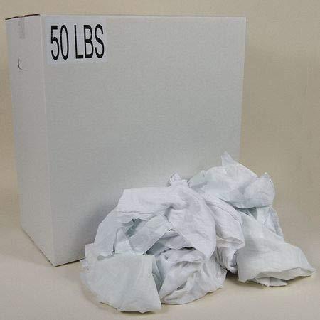 Recycled Cotton Sheeting Cloth Rag 50 lb. Varies Sizes, White
