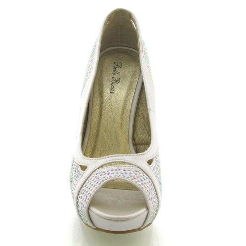Essex Glam Damen Stiletto Pumps Strasssteine Peep Toe Hochzeit Braut Schuhe Elfenbein Satin