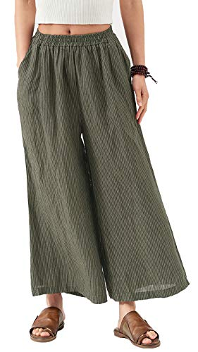 - Les umes Ladies Womens Linen Wide Leg Cropped Pants Stripe Elastic Waist Baggy Loose Trousers Light Gray Stripe S