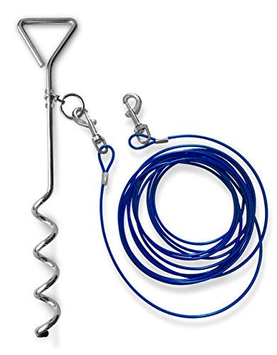 Dog Anchor Kit (Dog Stake with Tie Out Cable - The Complete Tether System for Med to Large Pets to Play in the Yard, Camping, or Outdoor)