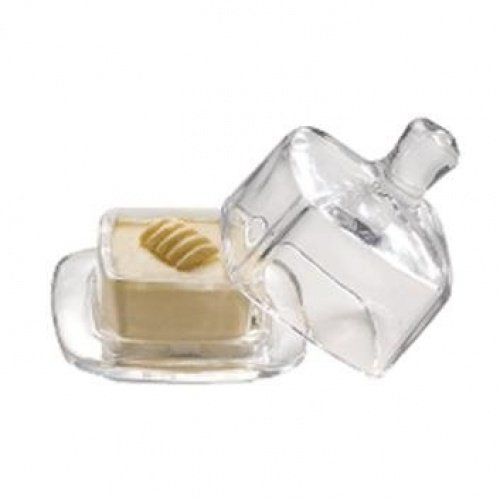 (M15926) SQUARE GLASS BUTTER DISH WITH LID/PAT WITH LID