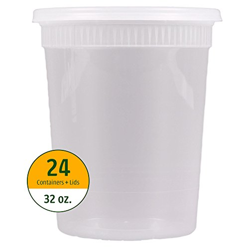 32 oz. Food Storage Round Deli Containers with Lids (24 sets) Airtight Seal | Microwavable, Freezer & Dishwasher Safe | Home, Work, Travel