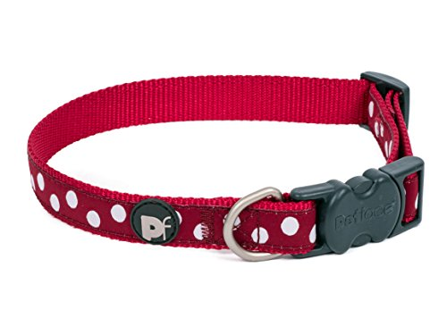 Petface Dog Collar, Pet Fashion Collars, Cherry Red/White Dots, Large ()