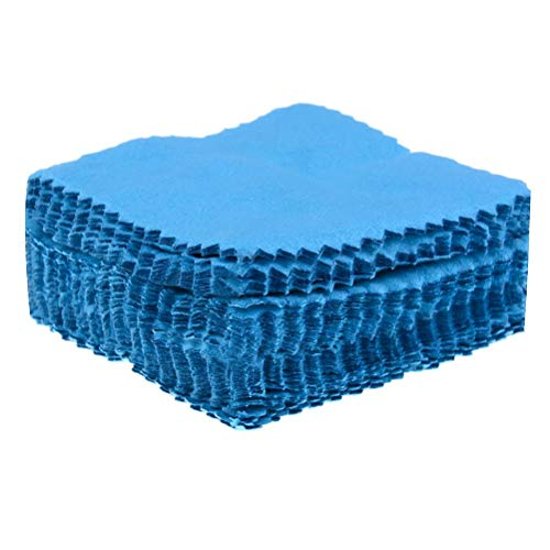 IYSHOUGONG 50 Pack Silver Cleaner Cloth Jewelry Cleaning Cloth Polishing Cloth for Sterling Silver Gold Platinum,Blue