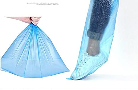 HUABEI Disposable Shoe Covers Blue Rain Shoes Boots Cover Plastic Long Shoe Cover Clear Waterproof Anti-Slip Overshoe Women Men Water Boots Cover Rainy Day Use Cover