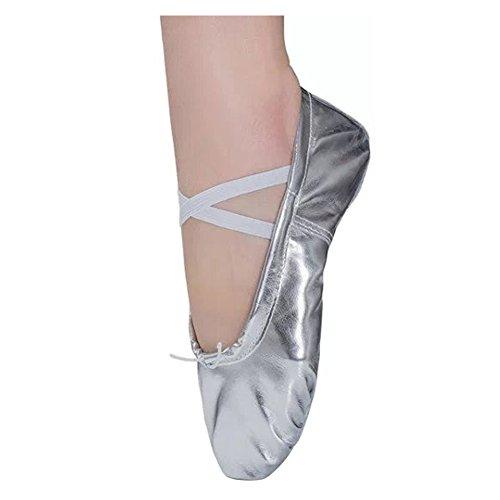 Ballettschläppchen Ballett Tanzschuhe für Damen Mädchen Kinder Gr.22-44 Silber